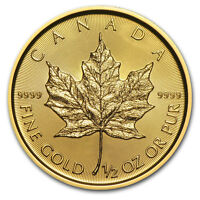 2018 CANADA 1/2 OZ GOLD MAPLE LEAF BU   SKU153127