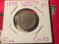 1898 V NICKEL OR LIBERTY NICKEL, ABOUT GOOD CONDITION