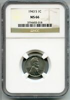 1943-S LINCOLN WHEAT CENT PENNY NGC MINT STATE 66 CERTIFIED - SAN FRANCISCO MINT AQ397