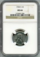 1943-S LINCOLN STEEL CENT PENNY NGC MINT STATE 66 CERTIFIED - SAN FRANCISCO MINT AQ439