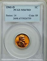 1941-D LINCOLN CENT - MINT STATE 67RD PCGS @@NONE GRADED FINER@@