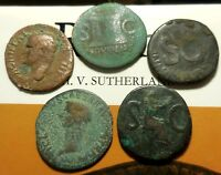 FIVE EARLY WORN AS COINS OF ROME 27 30 MM EACH CLAUDIUS AGRIPPA & AUGUSTUS