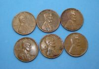 1941 1944 1945 1949 WHEAT CENT LOT OF 6