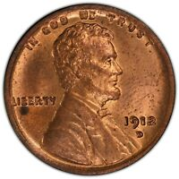 1912 D LINCOLN  CENT, PCGS MINT STATE 63RD, BRILLIANT RED CHOICE BU, SUPER CLEAN, SHARP
