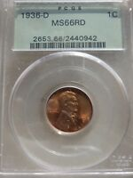 1936-D MINT STATE 66RD PCGS LINCOLN WHEAT BACK PENNY OGH