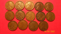 LOT OF 14 DIFFERENT-PRE 1920'S LINCOLN WHEAT CENTS- . MANY MINT MARKS