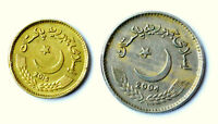 PAKISTAN 2 DIFFERENT 5 RUPEES COINS   F VF