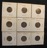 LOT OF 9 1909-1921 LINCOLN WHEAT CENTS - 1909, 1910, 1911, 1916, 1917, 1918