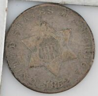 1852 SILVER THREE-CENT PIECE SCRATCHES ON REVERSE Z24
