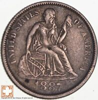 1887 SEATED LIBERTY SILVER DIME 5322