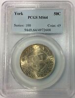 1936 50C YORK SILVER COMMEMORATIVE PCGS MINT STATE 64 OLD BLUE HOLDER