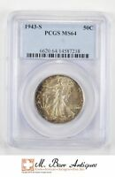 MINT STATE 64 1943-S WALKING LIBERTY HALF DOLLAR - GRADED PCGS 201