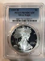 1995 W SILVER EAGLE PCGS PR70 DEEP CAMEO - KEY TO THE PROOF SILVER EAGLE SERIES