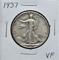 1937 VF  WALKING LIBERTY HALF DOLLAR 8F07JLT