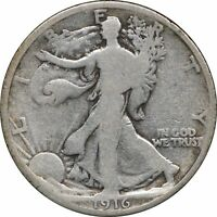 1916 P WALKING LIBERTY HALF DOLLAR, FULL DATE, G, 50C GOOD