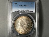 1898-P PCGS MINT STATE 63 MORGAN SILVER DOLLAR $1 ORIGINAL TONING BLUE/GREENS COIN