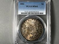 1882-P PCGS MINT STATE 64 MORGAN SILVER DOLLAR $1 ORIGINAL TONING BLUE/GREENS COIN