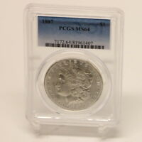 MORGAN 1887 MINT STATE 64 PCGS ONE DOLLAR SILVER COIN
