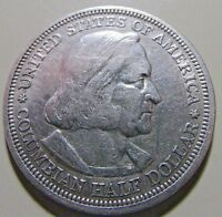 NICE 1893 COLOMBIAN CHICAGO EXPO SILVER 50C   AU OR SO DETAILS