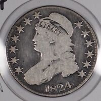 1824 CAPPED BUST HALF DOLLAR GOOD CONDITION 163244