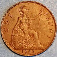 1929 PENNY GEORGE V GREAT BRITAIN KM 838