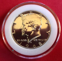 1968 S KENNEDY HALF DOLLAR GEM PROOF 40  SILVER IN COIN CAPSULE