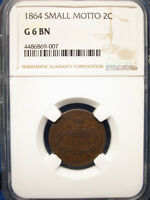 1864 2C NGC G6 BN SMALL MOTTO KEY DATE - 2-CENT PIECE - KEY DATE