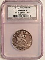 1854-O SEATED LIBERTY HALF DOLLAR ARROWS NCS VG DETAILS