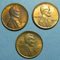 THREE UNCIRCULATED 1935 LINCOLN CENTS