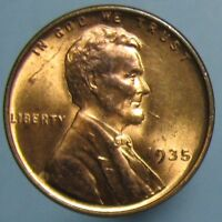 1935 LINCOLN CENT   MOSTLY RED BU WITH LIGHT TONING