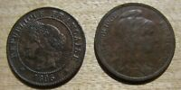 1896 A AND 1914 1 CENTIMES   BOTH ARE BROWN UNCIRCUATED