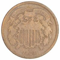 1864 TWO CENT PIECE REPUNCHED DATE SB81