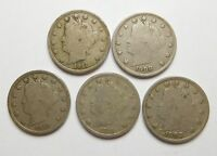 LIBERTY V NICKEL - LOT OF 5, VG TO F - 1903, 1908, 1910, 1911, 1911