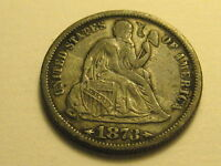 1873-P ARROWS SEATED LIBERTY DIME VF