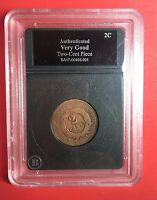 AUTHENTIC BETTER DATE 1865 TWO CENT PIECE COIN
