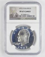 1972-S EISENHOWER IKE DOLLAR - SILVER - UNCIRCULATED NGC GRADED-PF67 CAM 5062