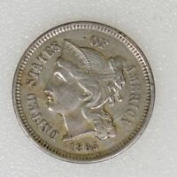 1865 EXTRA FINE  CONDITION THREE 3 CENT NICKEL CIVIL WAR DATE GREAT STRIKE - I-11870 F