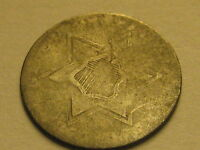 NO DATE TY II  1854 1858  THREE CENT SILVER PIECE