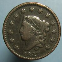 1827 CORONET LARGE CENT   FINE TO FINE CONDITION