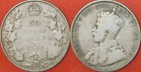 VERY GOOD 1916 CANADA SILVER 50 CENTS