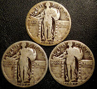 STANDING LIBERTY QUARTERS THREE 90  SILVER COINS 1925 1926 1927