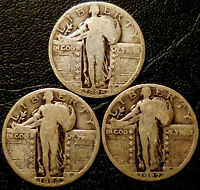 STANDING LIBERTY QUARTERS 90  SILVER 1925 1926 1927