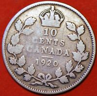 10 CENTS 1920 SILVER GEORGE V CANADA KM23