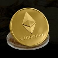 NEW TWO SIDES GOLD PLATED IRON ETH COMMEMORATIVE COIN ETHEREUM MINER COINS F9J1S