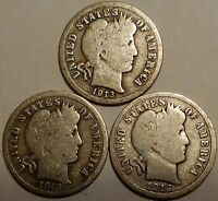 BARBER DIMES THREE 90  SILVER 1913 1915 AND 1916