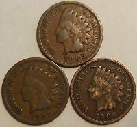 LOT OF 3 INDIAN HEAD CENTS 1905 1906 1907