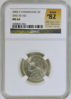 2004 P JEFFERSON NICKEL HANDSHAKE DDO FS 101 NGC MS64 82  LATE DIE STATE