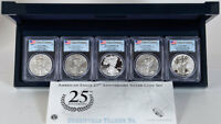 2011 SILVER EAGLE 25TH ANNIV. 5 COIN SET PCGS PR69 AND MS69 FIRST STRIKE IN OGP
