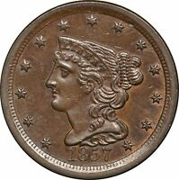 1857 BRAIDED HAIR HALF CENT, AU 1/2C ABOUT UNCIRCULATED