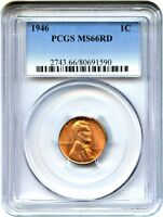 1946 1C PCGS MINT STATE 66 RD - LINCOLN CENT